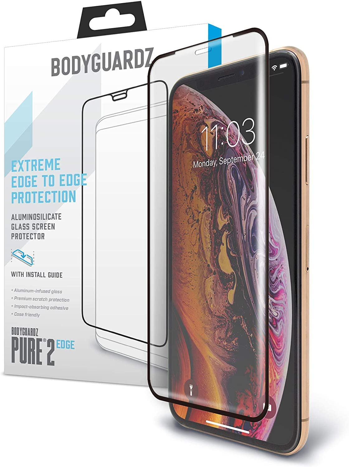 BodyGuardz - Pure 2 Edge Glass Screen Protector for iPhone 11 Pro Max, Ultra-Thin Edge-to-Edge Tempered Glass Screen Protection - Case Friendly