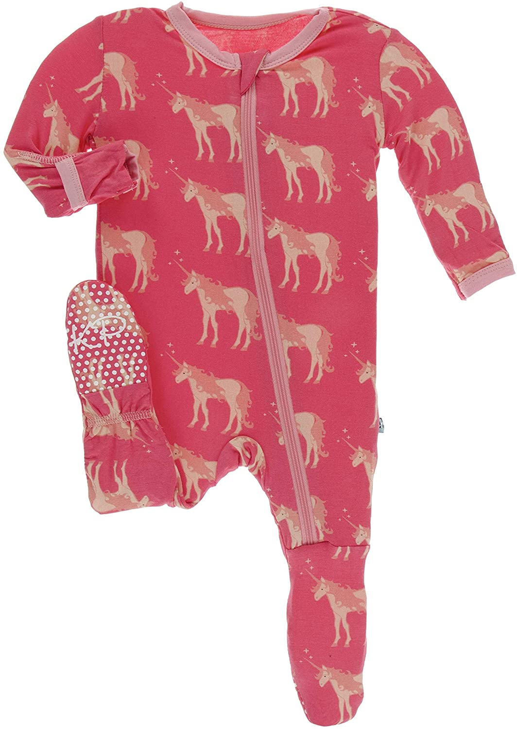 KicKee Pants Print Footie with Zipper (Red Ginger Unicorns - 3-6 Months)