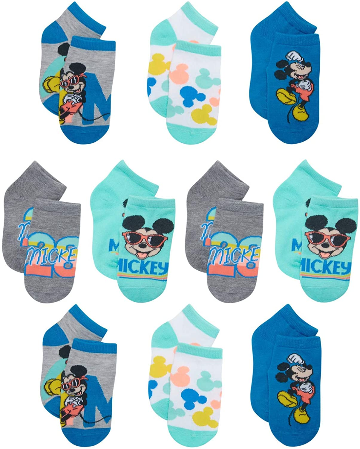 Disney Baby Boy's Mickey Mouse Socks - Low Cut No-Show Ankle Socks (10 Pack)