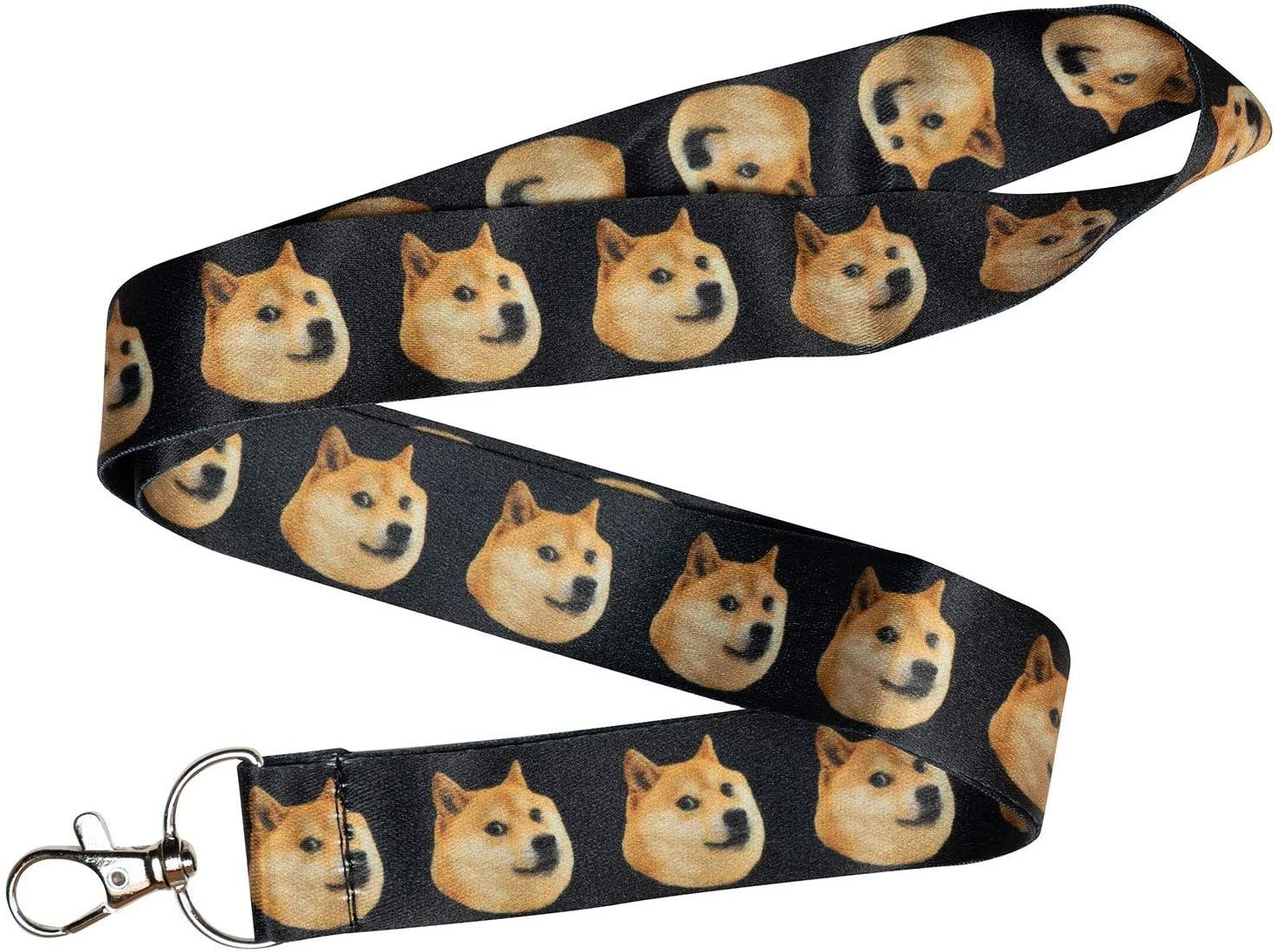 Doge Meme Black Keychain Holder Lanyard