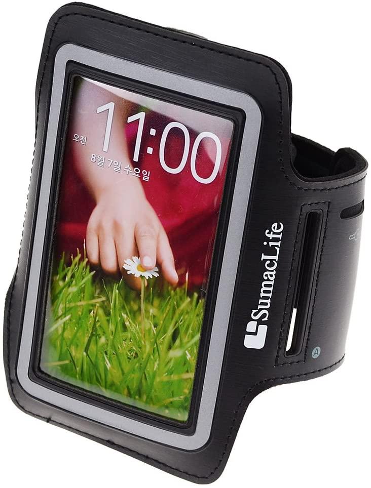 SumacLife Running Sports GYM Armband Case for LG G2/LG Nexus 5/LG Nexus 4/LG Optimus GK (Black-Neoprene)