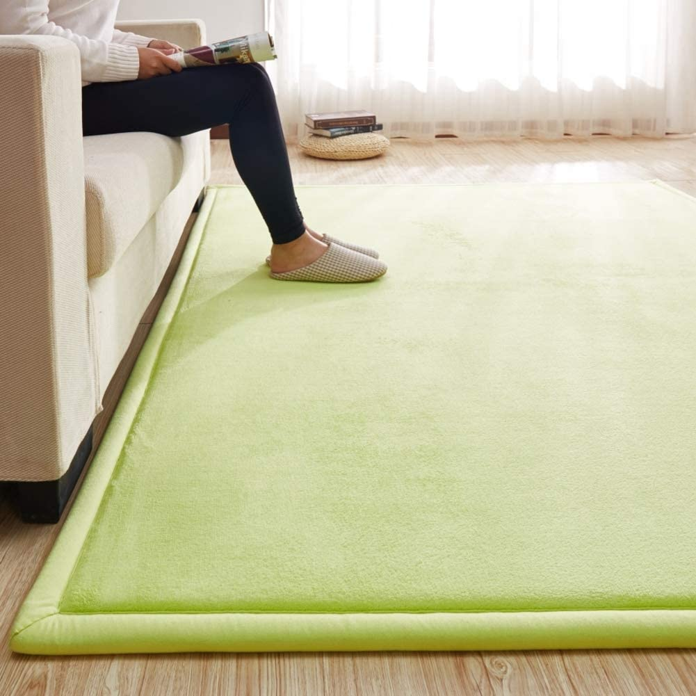 Area Rug Thick Solid Color, Large Baby Play Mat Not-Slip Memory Foam Carpet Reversible Tatami Mat Living Bedroom Floor Mat Gym Mat -Light Green 80x200cm(31x79inch)