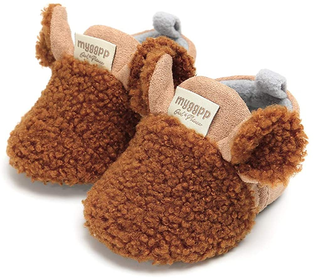 Baby Boys Girls Soft Plush Slippers Cartoon Toddler Infant Warm Winter House Shoes