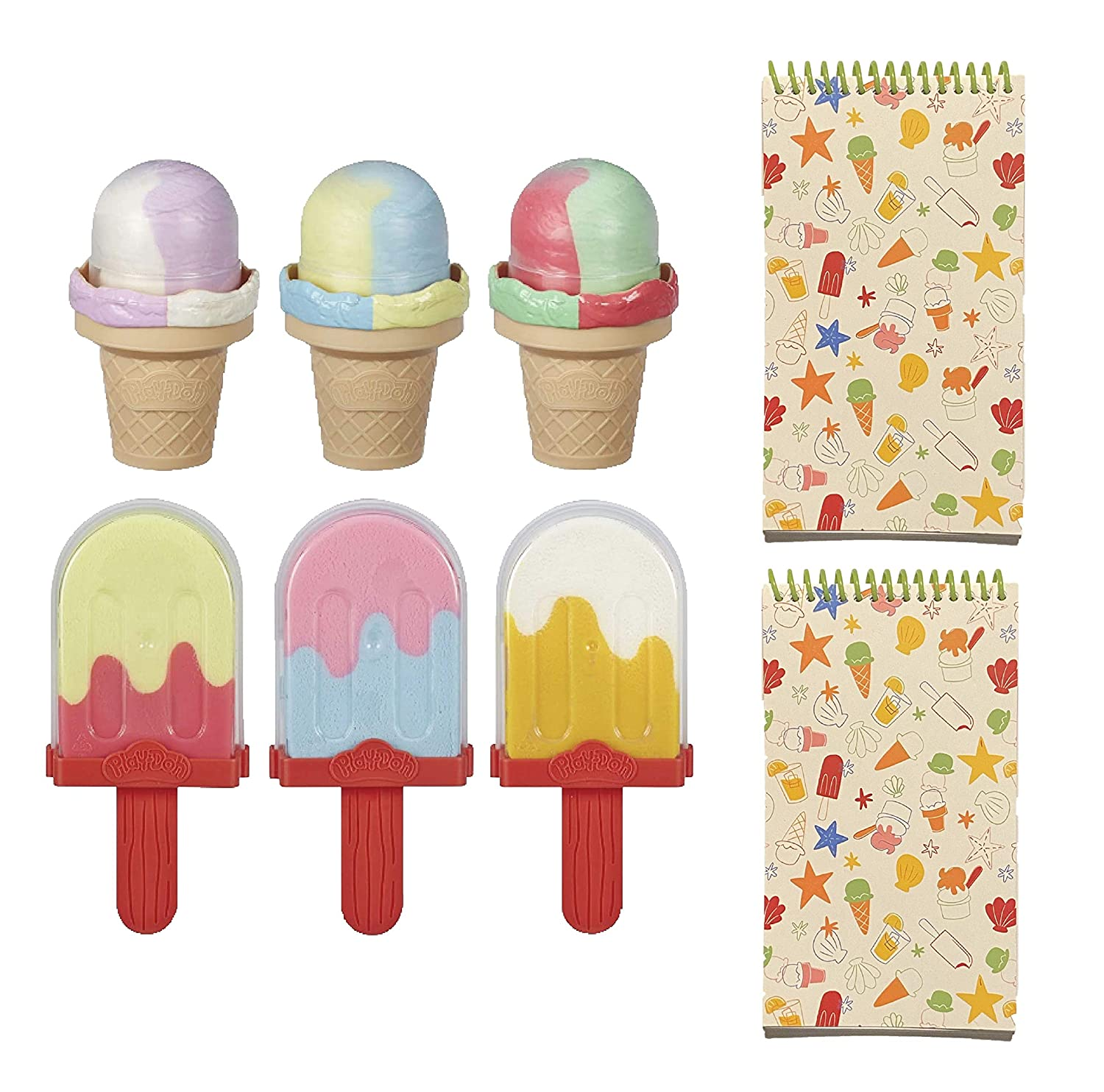 Ice Pops n' Cones Shaped Modeling Compound Bundled with Two Ice Cream Themed Notepads (Total 8 Items)