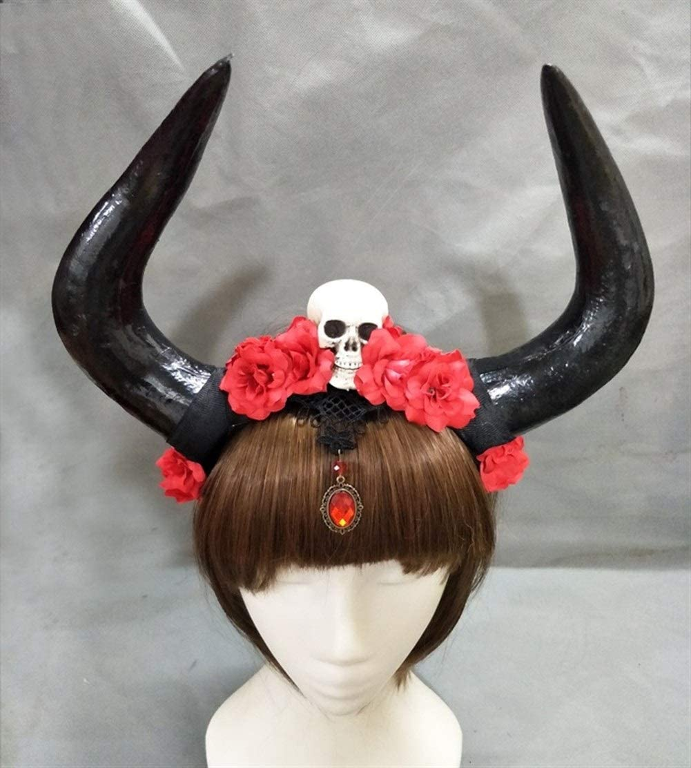 QAES Headwear Restyle Gothic Occult Goth Antler Roses Skull Headband for Clothing Accessories, Party Supplies, Party Gifts,Halloween Party,Cosplay Decoration (Color : Without Veil)
