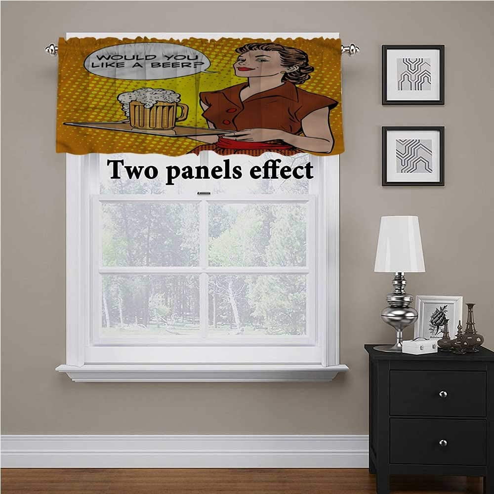 shirlyhome Man Cave Short Curtains The Waitress with a Tray for Kids Room/Baby Nursery/Dormitory, 54 Inch by 12 Inch 1 Panel