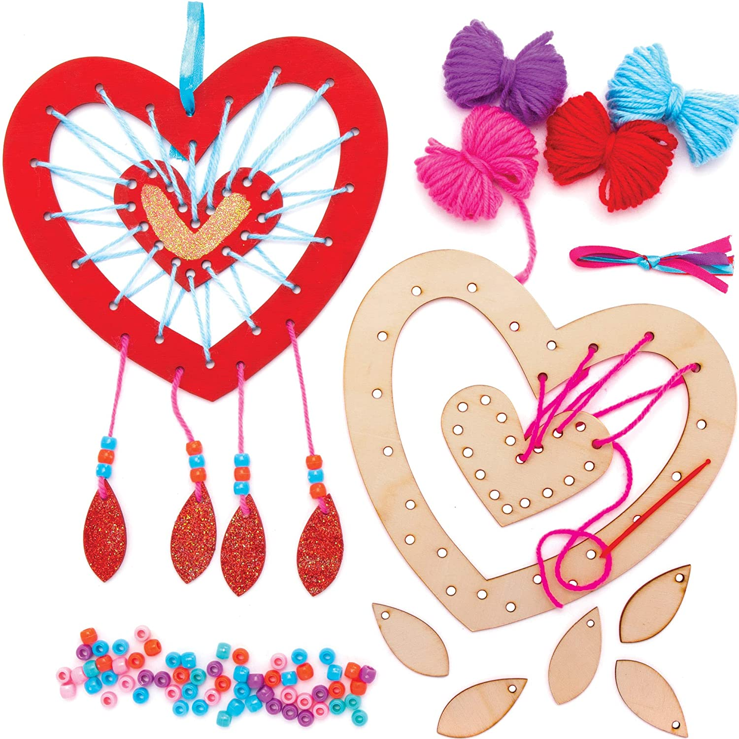 Baker Ross Heart Wooden Dreamcatcher Kits (4 Pack) Ideal for Kids Arts and Craft Project, Educational Toys, Gifts and Keepsakes