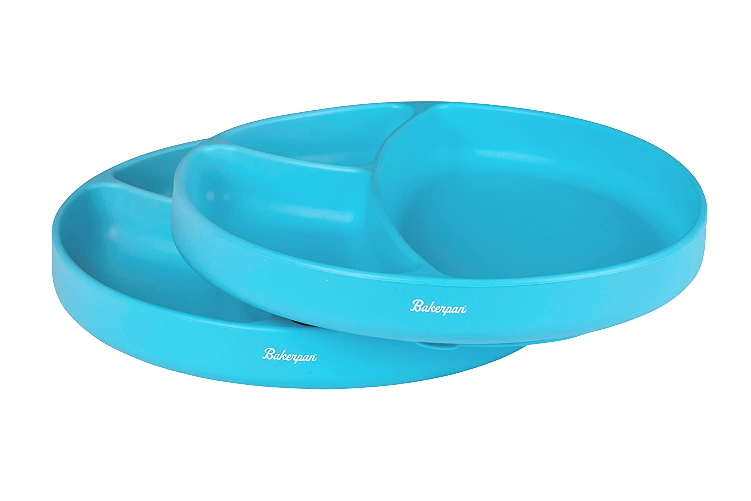 Bakerpan Silicone Toddler Plate with Suction Base, 3 Sections Baby Feeding Plate, Set of 2 (Blue)