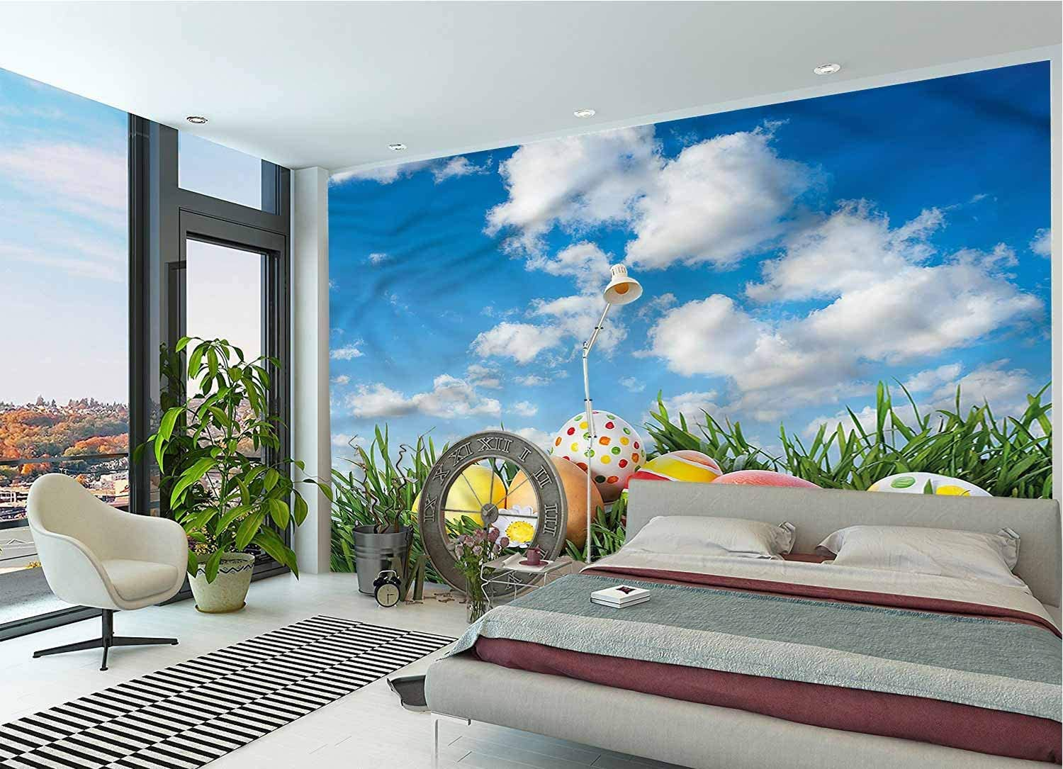 LCGGDB Easter Large Wall Mural,Eggs on Grass Open Skyline Removable Large Sticker Foil Wall Decor for Office Kids Bedroom Nursery Family Decor-144x100 Inch