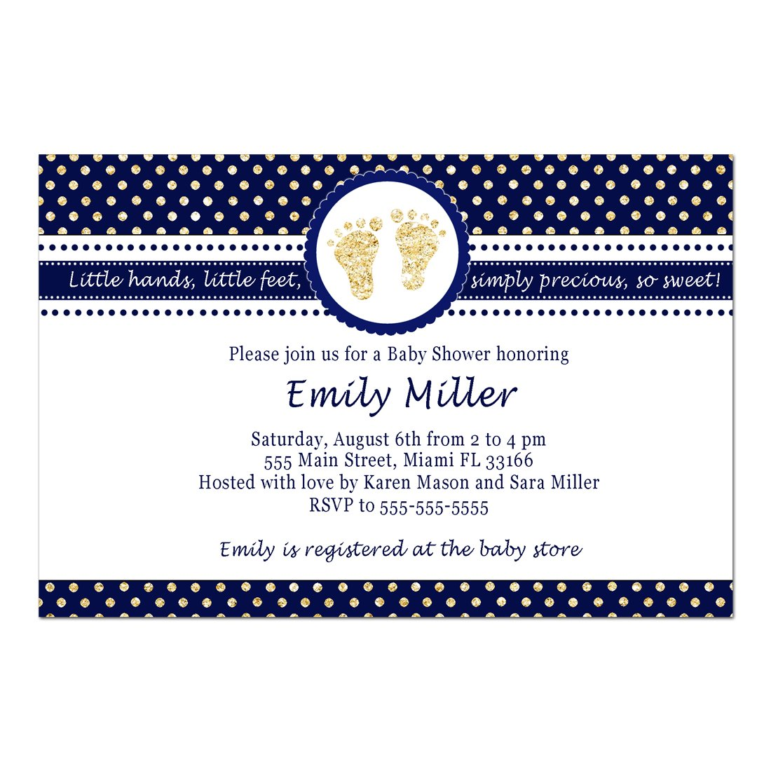 30 Invitations Boy Baby Shower Navy Blue Gold Footprints Personalized Photo Paper
