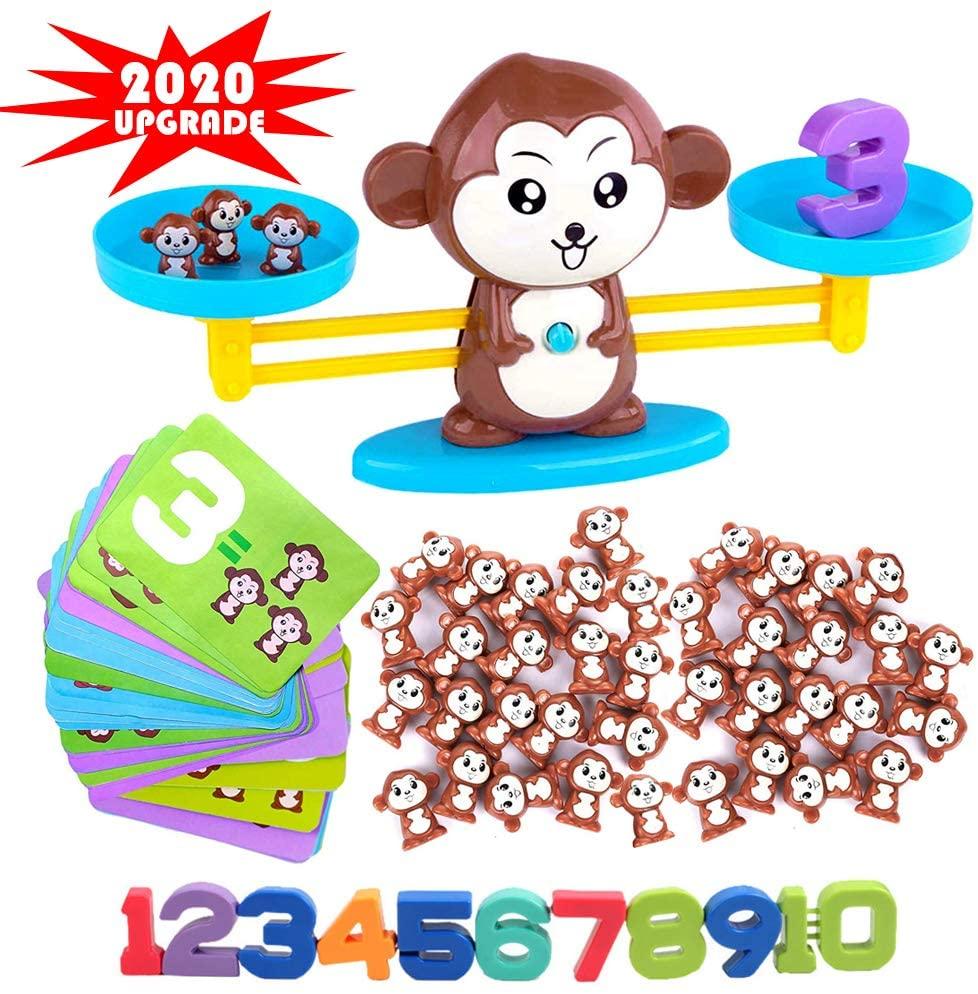 Odowalker Monkey Balance Counting Toys,91PCS Monkey Balance Montessori Toy for 3 4 5 Year olds First Grade Children Kids Kindergarten Board Game