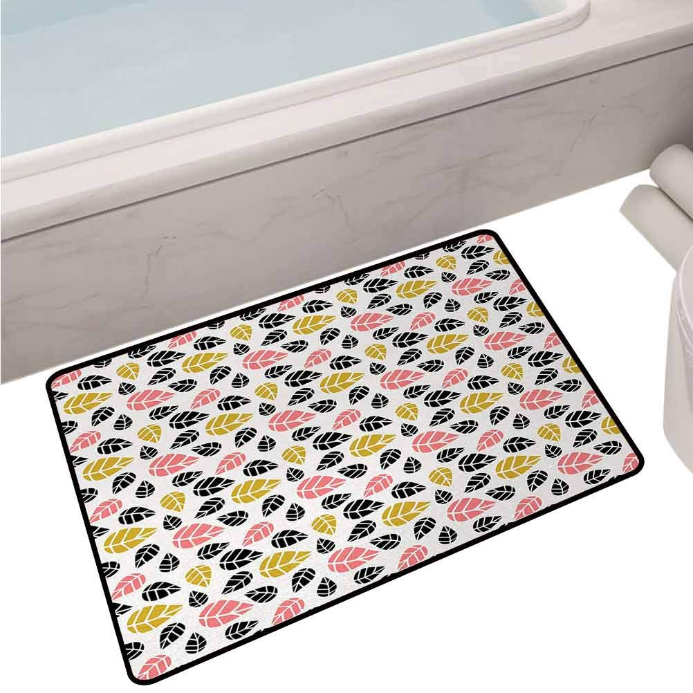 Indoor Polyester Mats Falling Autumn Leaves Pattern in an Artistic Style Seasonal Garden Theme,32