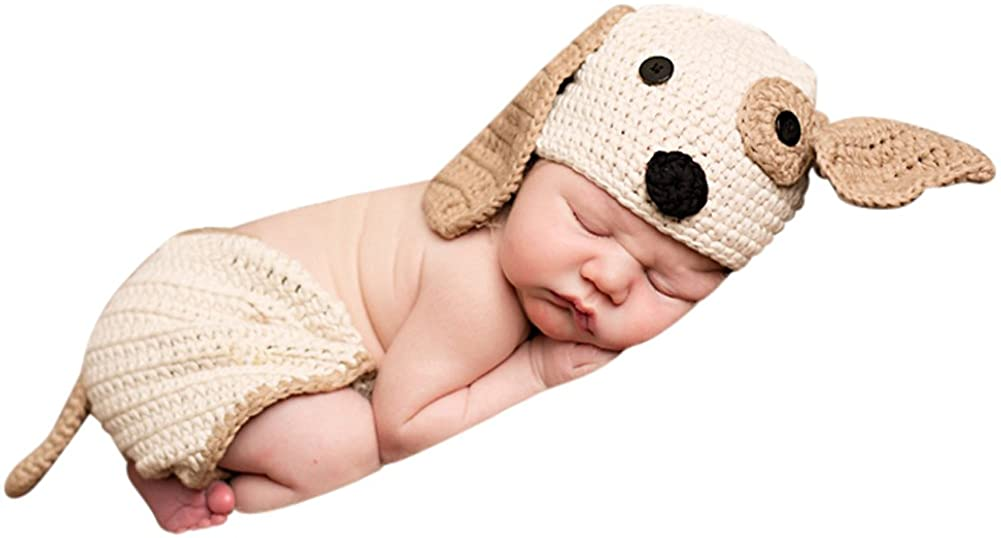 Melondipity Perfect Puppy Dog Baby Hat & Diaper Cover Set 100% Cotton - Newborn/Infant