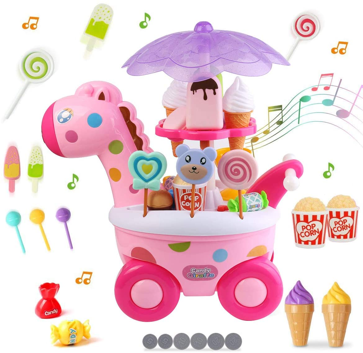 Battery Operated Kitchen Food Cart on Wheels Cooking Pretend Play Set Toy with Sounds and Lights for Kids