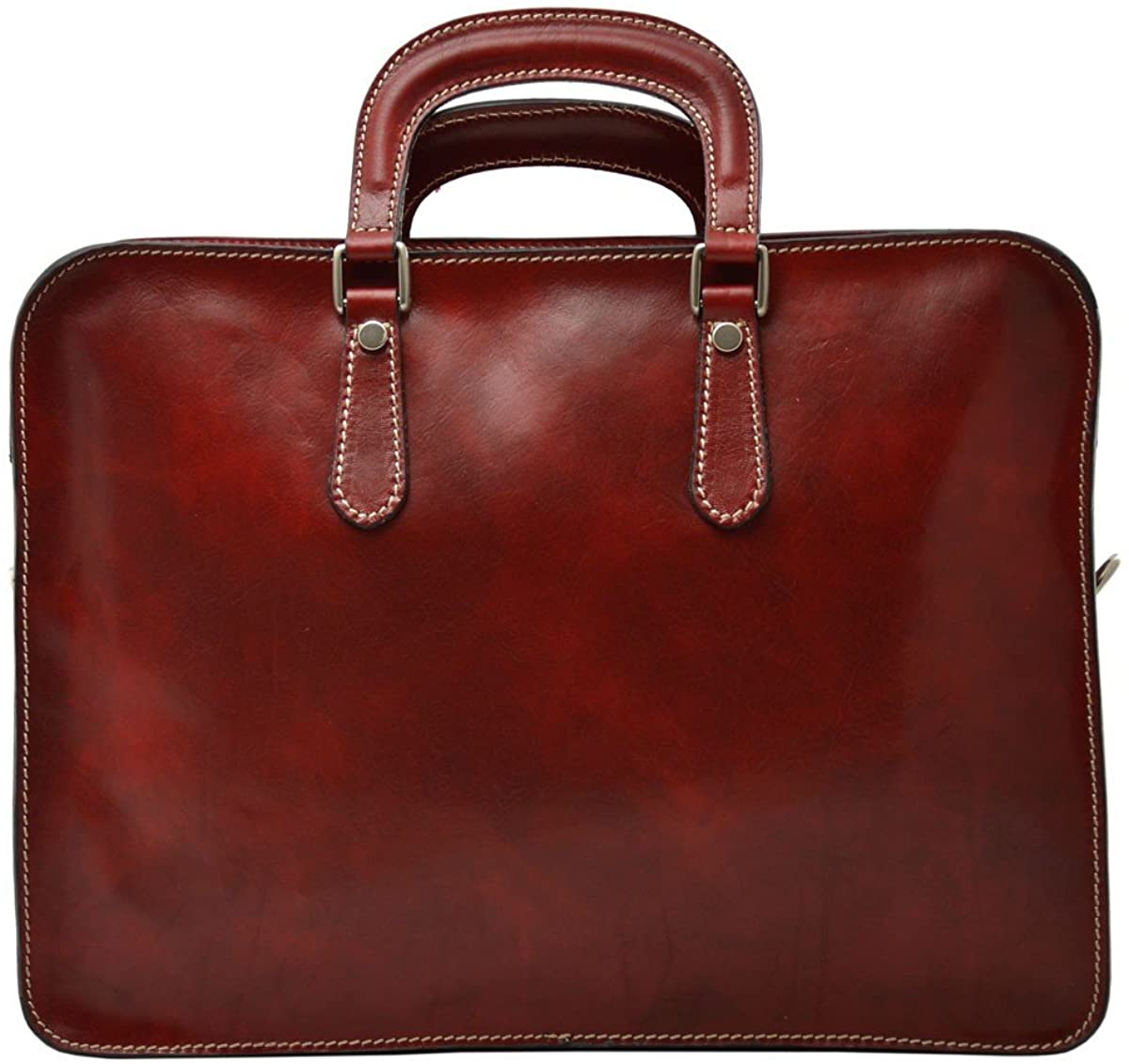 Genuine Leather Business Briefcase Color Red
