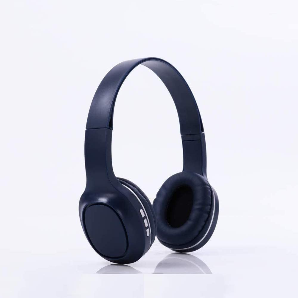 QYH Gaming Headset Wireless Bluetooth Headphone Surround Sound, Computer Headphones Head-Mounted Card Earphone Stereo Earbuds (Color : Deep Blue)