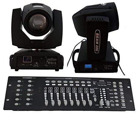 E-shineTech 2PCS/Lot With DMX 192 Controller Beam Moving Head SHARPY 5R Beam 200W stage Lighting Black For Wedding Christmas Birthday DJ Disco KTV Bar Event Party Show