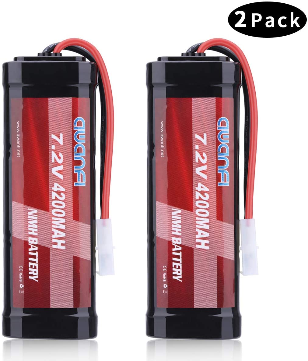 AWANFI 7.2V 4200mAh NiMH Battery High Power RC Car Battery with Tamiya Connector for RC Car RC Truck Traxxas LOSI Associated HPI Kyosho Tamiya Hobby(2Pack)