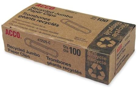 Acco 72525 Recycled Paper Clips Jumbo 100/Box 10 Boxes/Pack