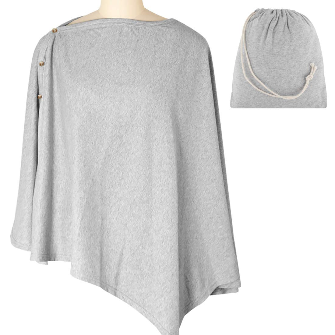 Breastfeeding Cover with Matching Pouch, 360° Full Privacy Nursing Breastfeeding Cover Ups, Nursing Cover for Breastfeeding, Soft, Breathable(Grey)