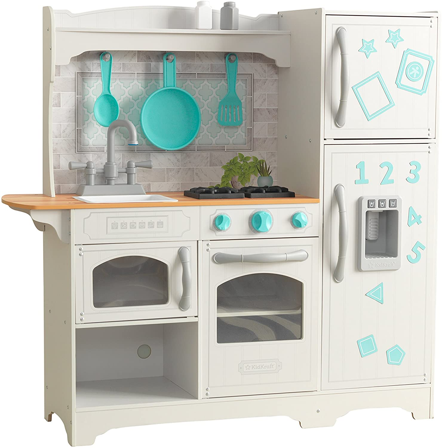 KidKraft 53424 Countryside Play Kitchen Play Wooden Pretend Play Toy Kitchen for Kids with Ice Maker and Role Play Accessories Included - EZ Kraft Assembly
