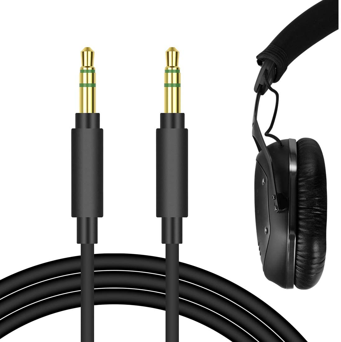 Geekria QuickFit Cable for V-Moda Crossfade, LP2, M-100, M-80, V-80, Crossfade LP, Koss BT540i, Pro4S, ProDj200, SP540 Headphones, 3.5mm Male Stereo Replacement Headphone Audio Cord (Black 5.6ft)