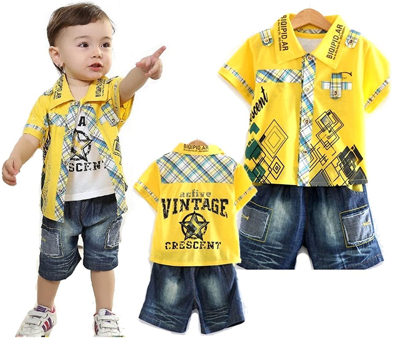 SOPO Baby Boy 3 Piece Outfits (Summer Shirt, Vest, Denim Shorts) Yellow 9-24m