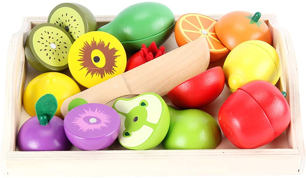 FunPa Kids Cutting Toy Set Simulated Fruit Vegetable Pretend Food Toy Kitchen Play Food