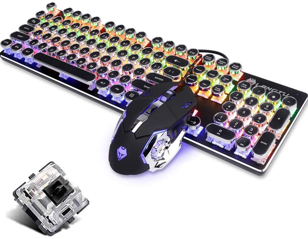 OFNMD Gaming Mechanical Keyboard and Mouse Set, Blue Switch RGB LED Metal Ergonomic Multimedia Wired USB Keyboard+3200DPI Breathing Backlit Mouse QWERTY Key