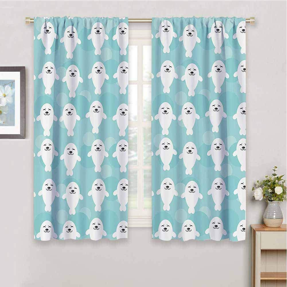 Sea Animals Decor Decor Living Room Curtains 2 Panel Sets White Baby Seals with Cute Faces Children Baby Smiling Cheerful Kids 2 Panel Sets, W63 x L63 Inch,