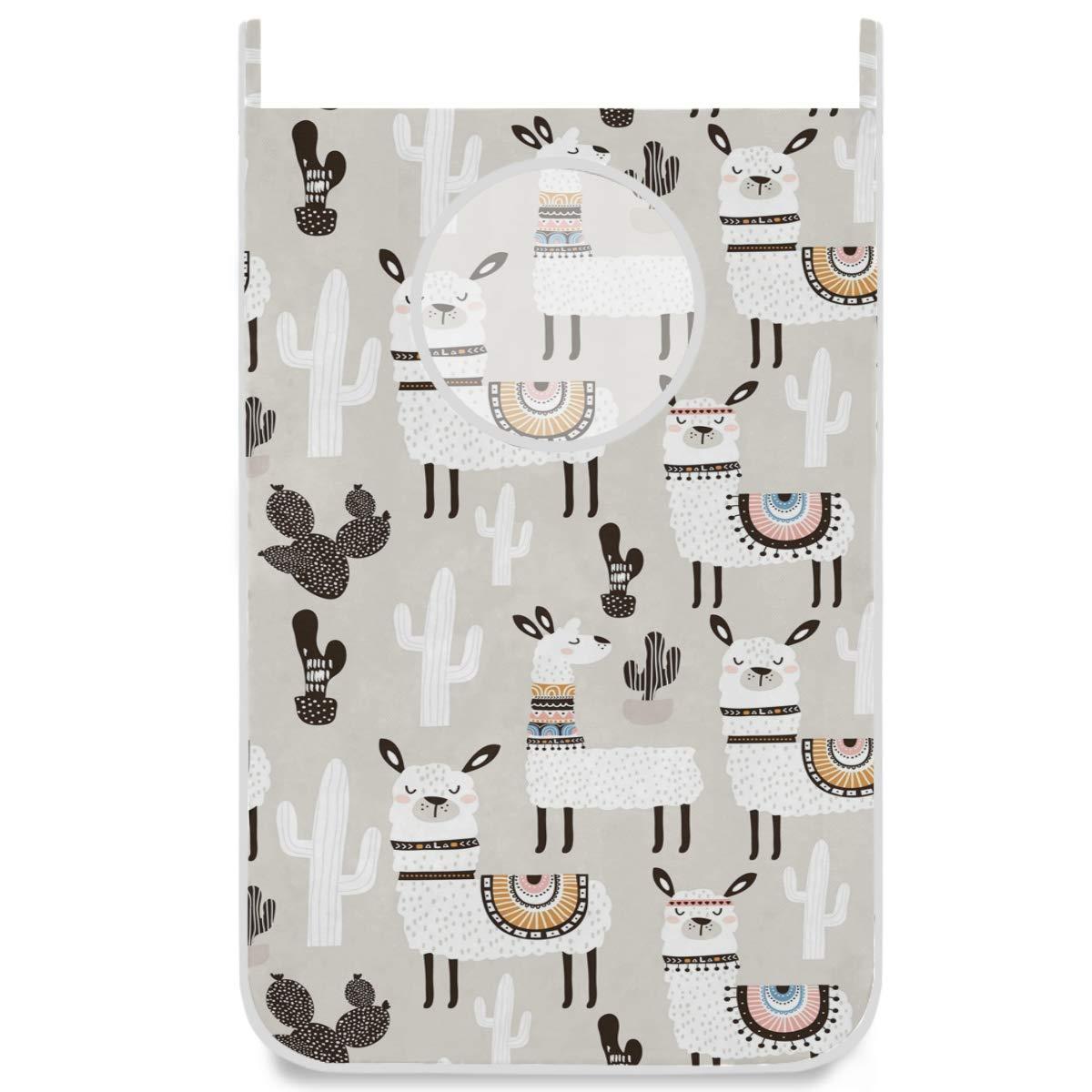 ZzWwR Boho Cute Cartoon Llama Cactus Space Saver Door Hanging Hamper Bag, Open Top Laundry Basket with Free Hooks for Bathroom,Kids Room,Dorm (Large Size 30