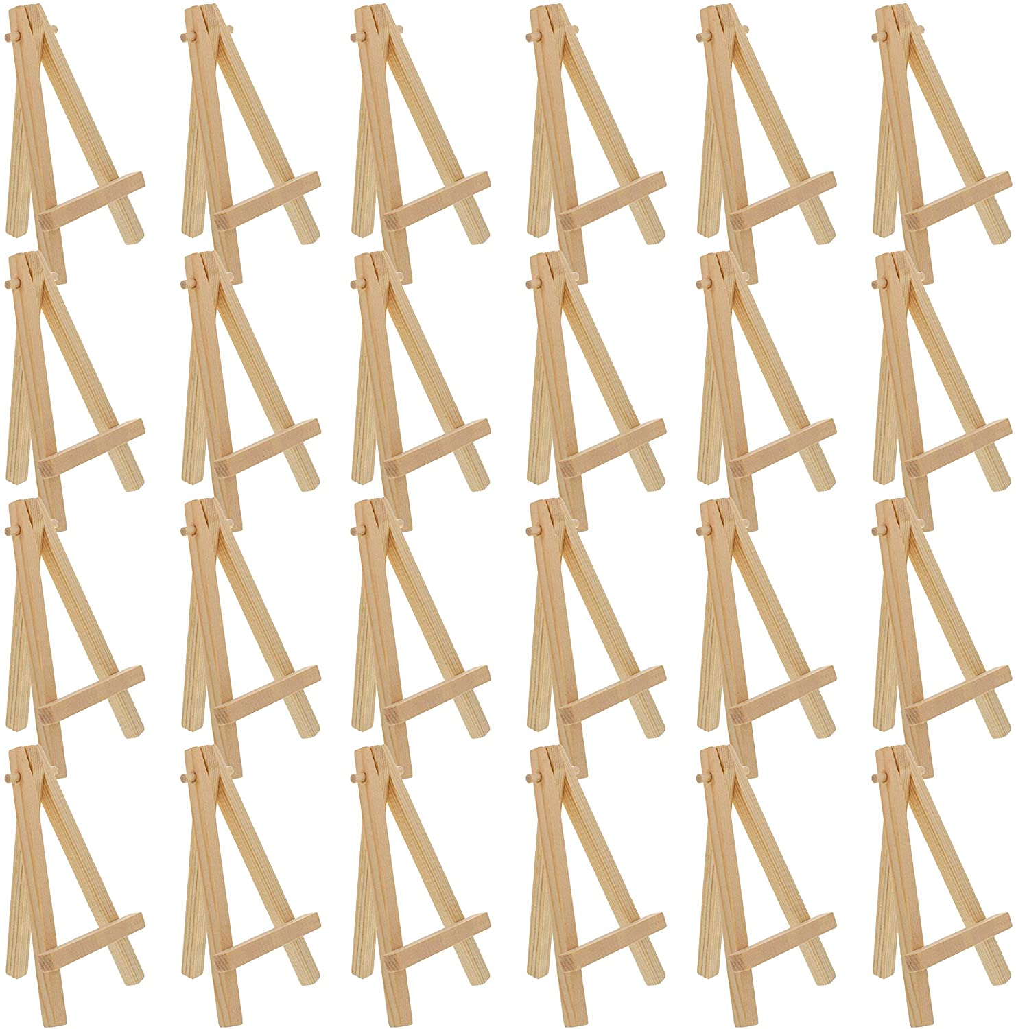 U.S. Art Supply 5 Mini Natural Wood Display Easel (Pack of 24), A-Frame Artist Painting Party Tripod Easel - Tabletop Holder Stand for Small Canvases, Kids Crafts, Business Cards, Signs, Photos, Gift