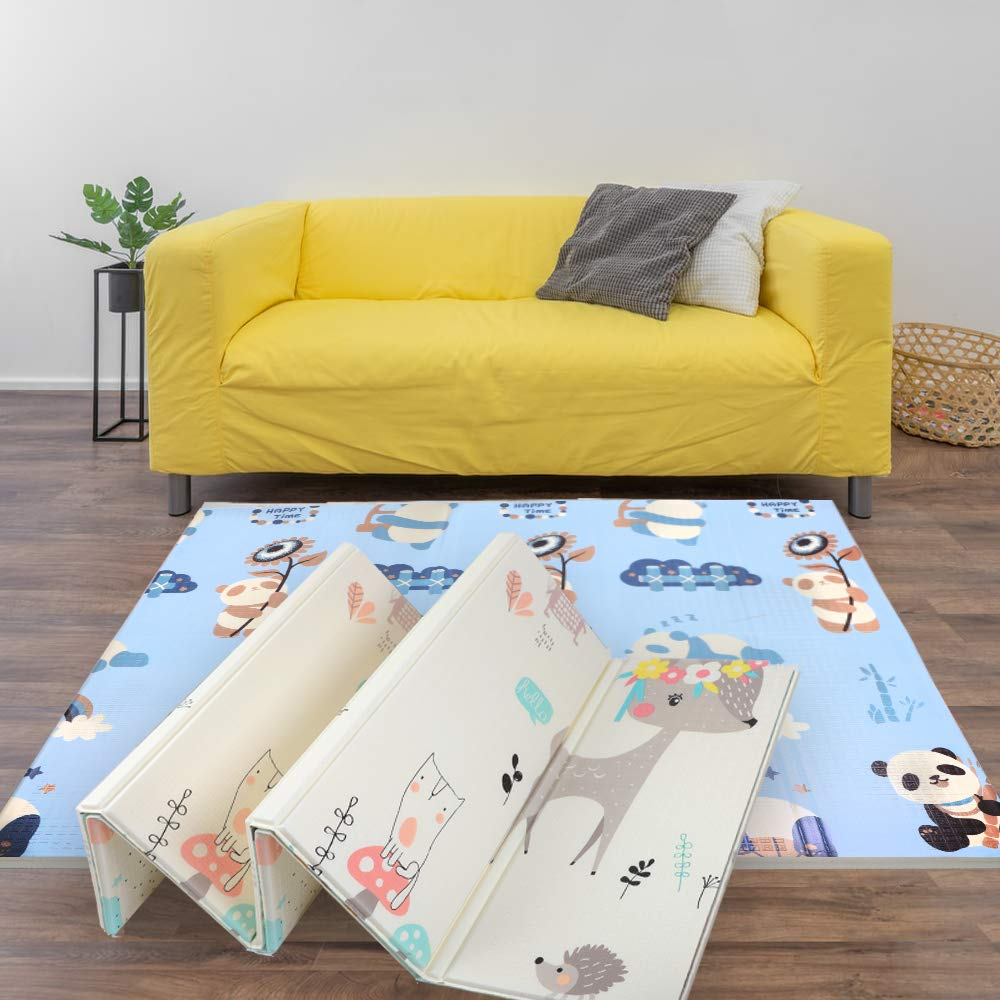 Yincimar Baby Play Mat,Extra Large Baby Crawling Mat Cushioned Foam Exercise Mat Waterproof Folding Mat for Infant Toddlers Kids Baby Boy Girl (70