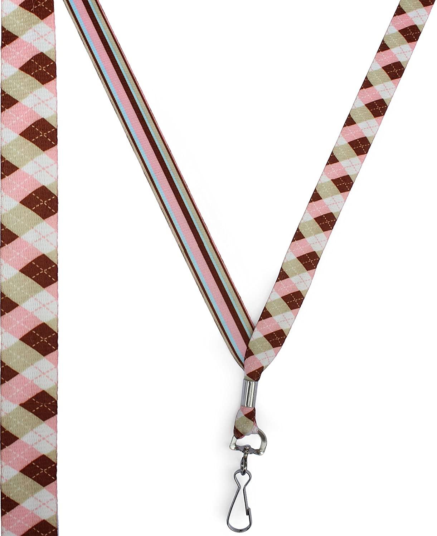 Argyle Pink and Brown - Ultra Soft Neck Lanyard for Sensitive Skin - Key or Badge ID Holder