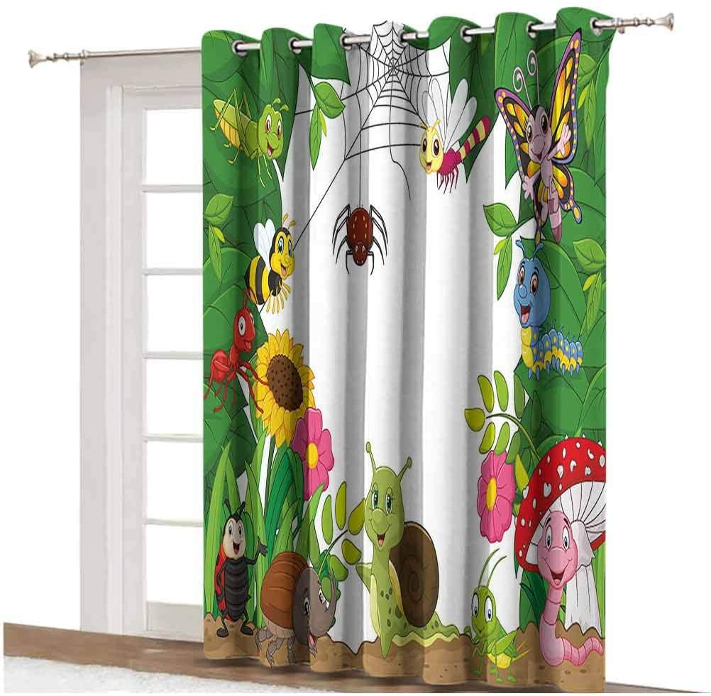 Nursery Window Curtain Happy Little Butterflies Bugs Insects Comic Caterpillars Dragonflies Spider Web Thermal Backing Sliding Glass Door Drape ,Single Panel 80x108 inch,for Home Decor Multicolor