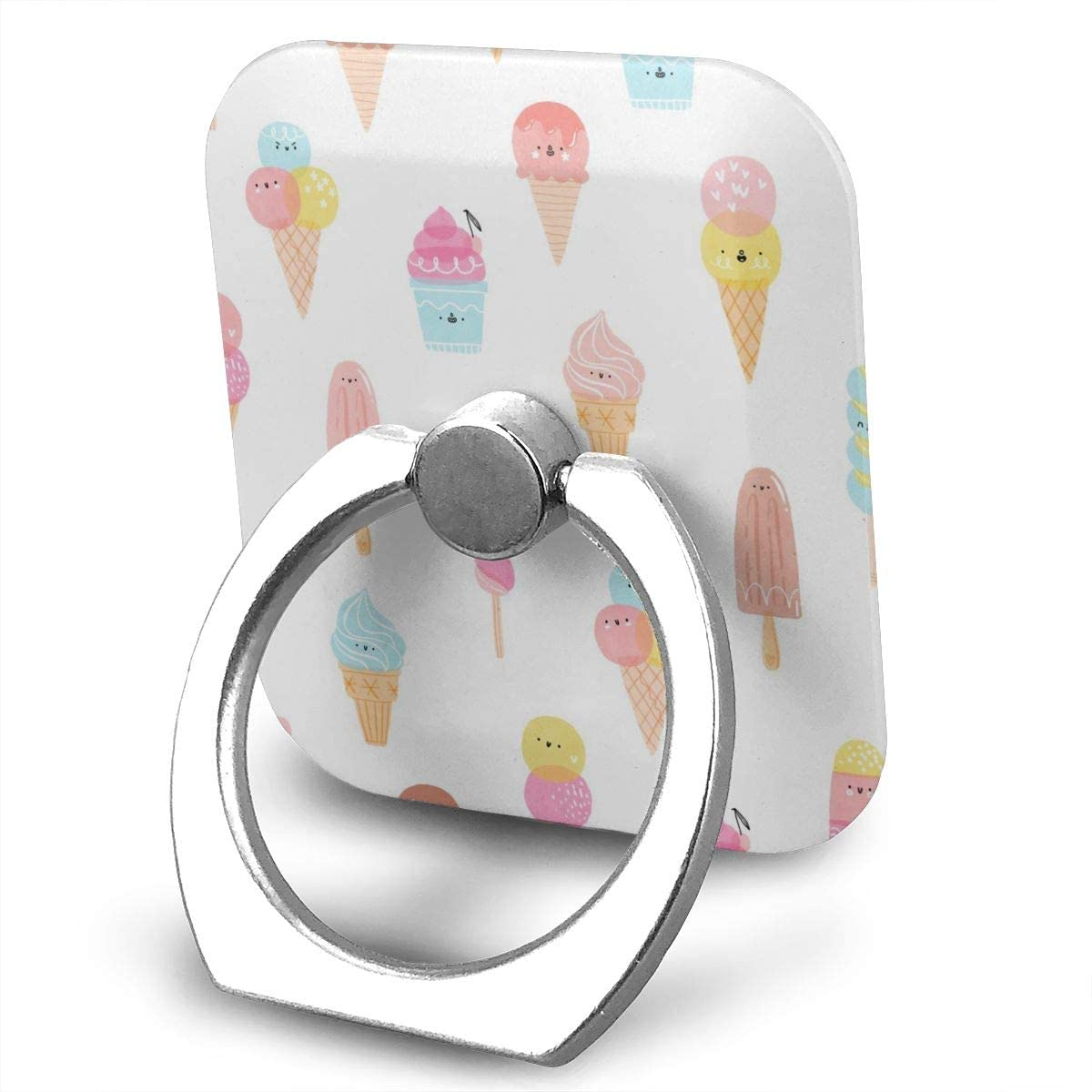 SLHFPX Universal Phone Ring Holder Cute Ice Cream Square Cell Phone Ring Stand Adjustable 360°Rotation Finger Kickstand Grip-Silver Mobile Phone Stand for Women Kids Men Ladies Smartphones