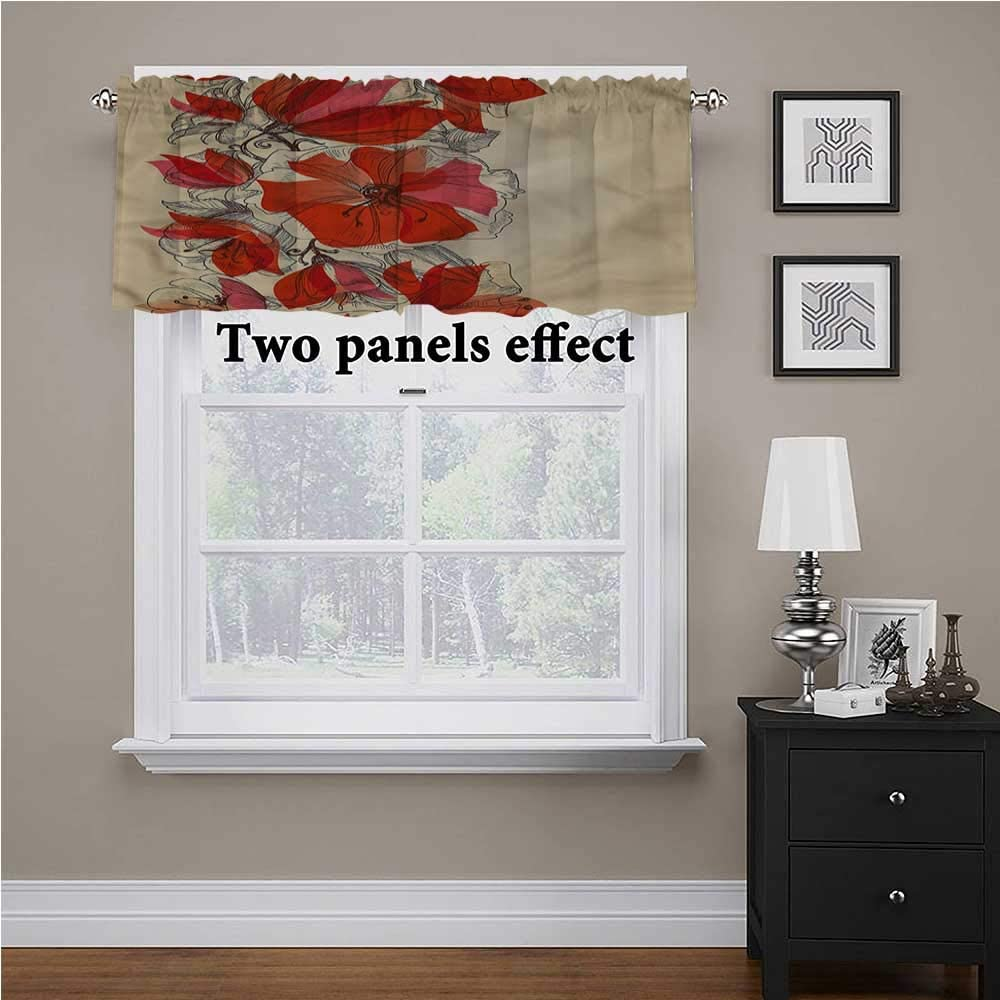 shirlyhome Flowers Valance Artistic Bouquet Romantic for Kids Room/Baby Nursery/Dormitory, 54 Inch by 12 Inch 1 Panel