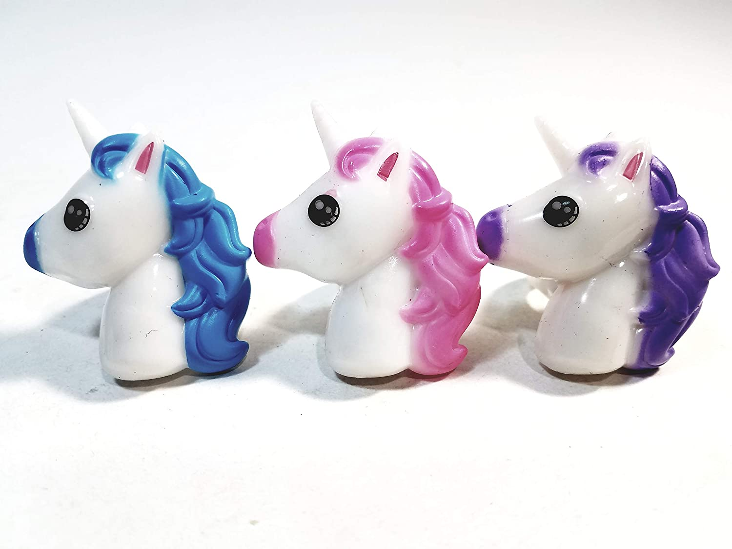 SF Toys Set of 3 Unicorn Light Up Rubber Rings (Blue Pink Purple)