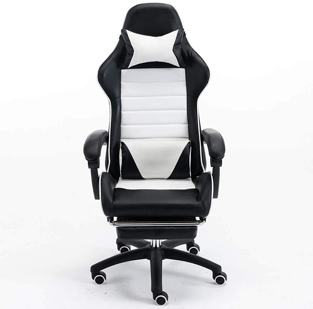 Xervg Gaming Chairs Computer Chair Ergonomic Chair Live Game Home Office Chair Reclining Chair Cafe Chair Boss Chairs Have Foot Aluminum Footrest,White