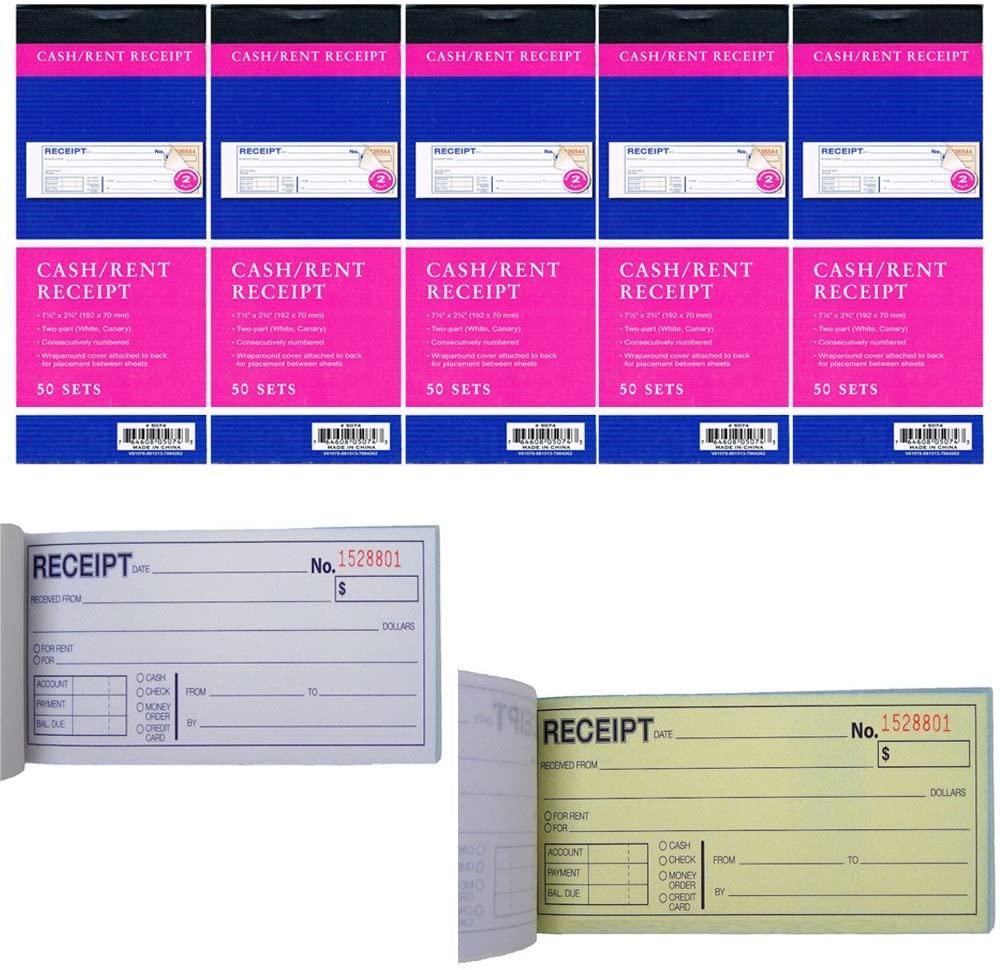 5 x Carbonless Cash Money Rent Receipt Record Book 2 Part 50 Sets Duplicate Copy