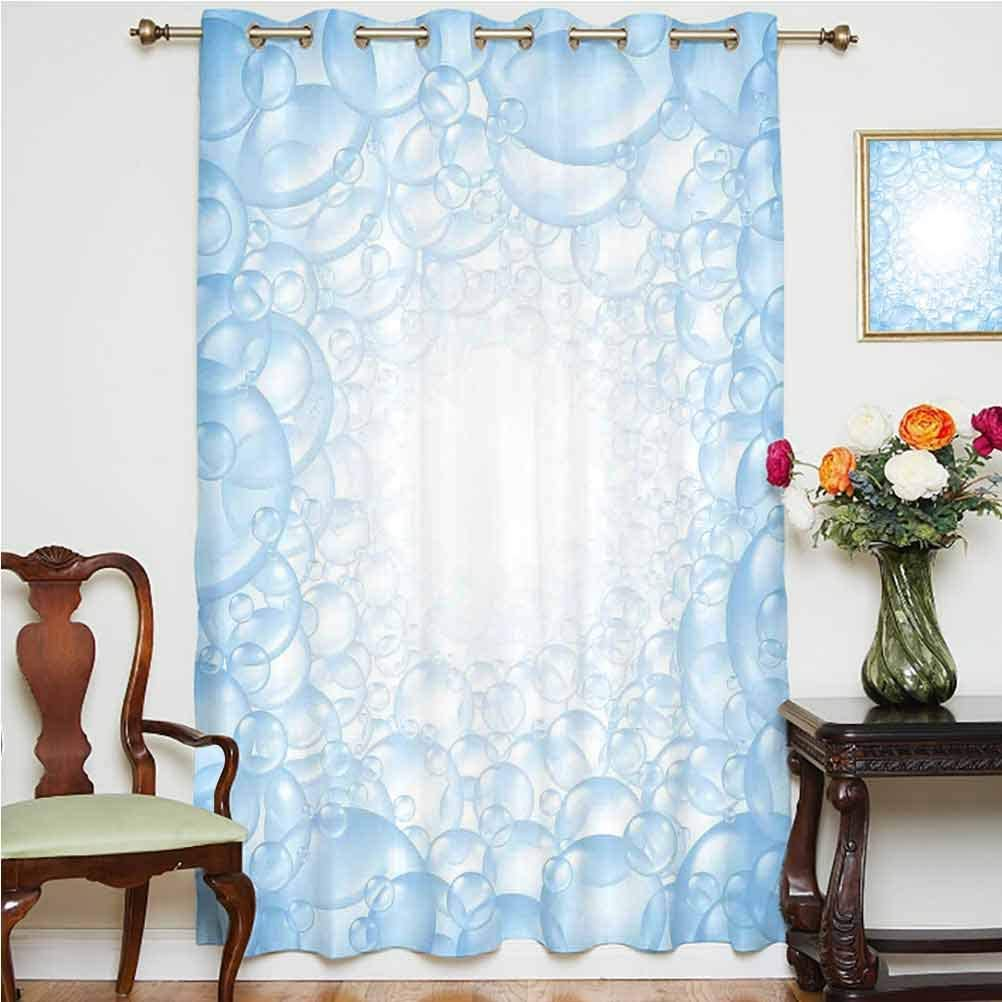 Nursery Blackout Patio Door Curtains Bubble Bath Soap Suds Floating Circular Foam Spheres Aquatic Artwork Print Thermal Backing Sliding Glass Door Drape,Single Panel 52x84 inch,for Kid's RoomBlue and