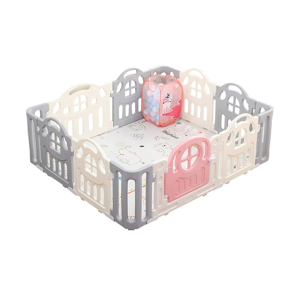 QFFL Playpen for Baby, 12 Panel Portable Playard  Kids Safety Activity Center  Home Indoor Outdoor Play Fence for Children/Pets Baby Playards (Color : Style 2, Size : 12 Panel -150x180x64cm)