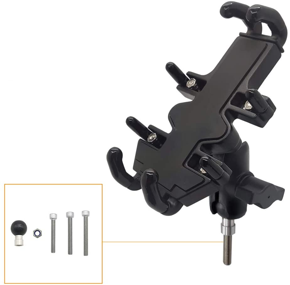 chefensty 1 Set Universal 360 Degree Rotatable Motorbike Motorcycle Scooter Mobile Phone Holder Shockproof Cradle Clamp Mount
