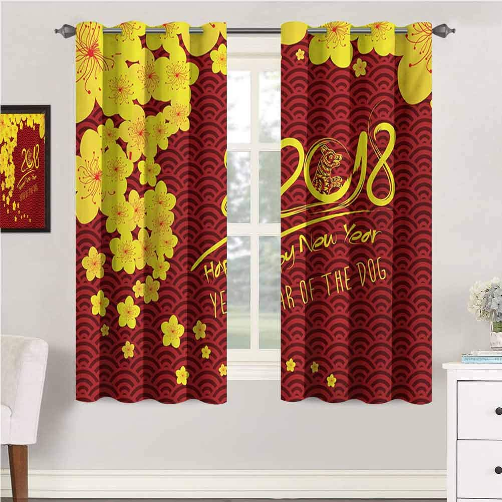 Year of The Dog Nursery & Infant Care Curtains Squama Pattern Blooming Flowers Oriental Geometric Elements Curtains for Baby Nursery Room 63