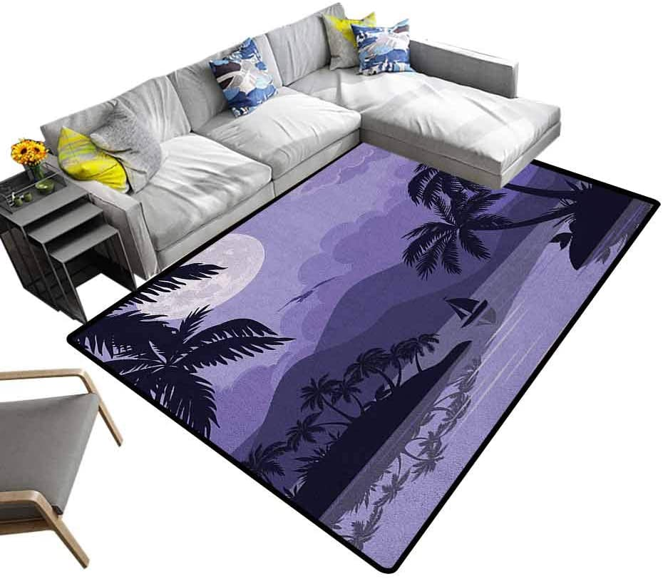 Camping Mat Tropical, Super Soft and Cozy Washable Carpet Caribbean Island Landscape at Night Full Moon Sailboat and Palm Trees for Baby Nursery Decor Black Lavender White, 7 x 7 Feet