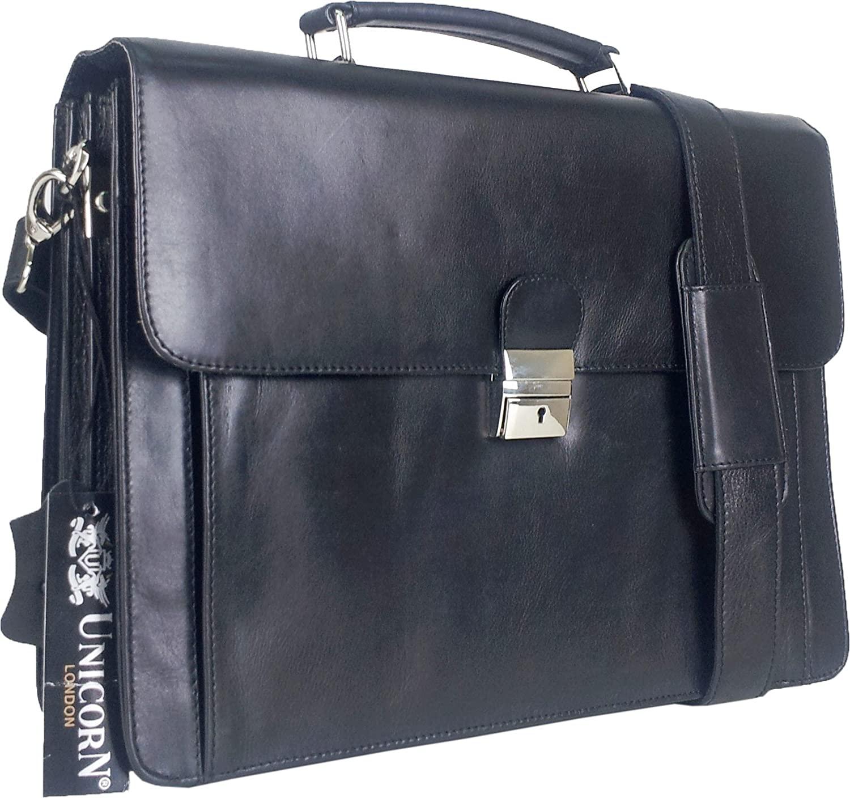 Unicorn Black Real Leather Bag Business Executive Briefcase Keylock Messenger #6N