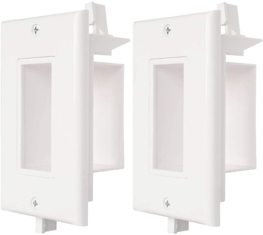 Wi4You Cable Wall Plate 2 Pack Decotive Recessed Wall Plate with Easy Mount Wings Side Opening for Low Voltage Wall Plate WI1010-2