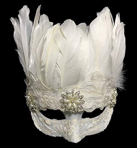 QAES Headwear Gothic White Feather Blindfold,True and Natural Halloween Headband for Clothing Accessories, Party Gifts,Halloween Party,Cosplay Decoration