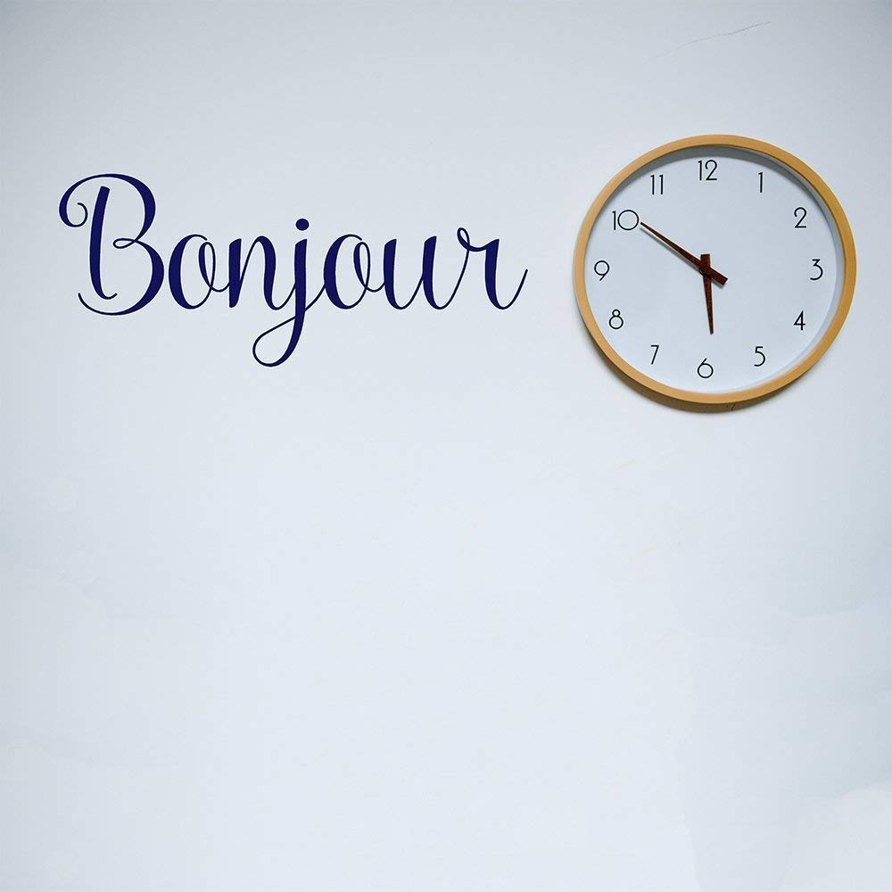 Bonjour Wall Decal Wall Quote French Quote Wall Sticker Vinyl Decal Hello Decal France Sticker Bonjour Decal Bonjour Sticker Decor