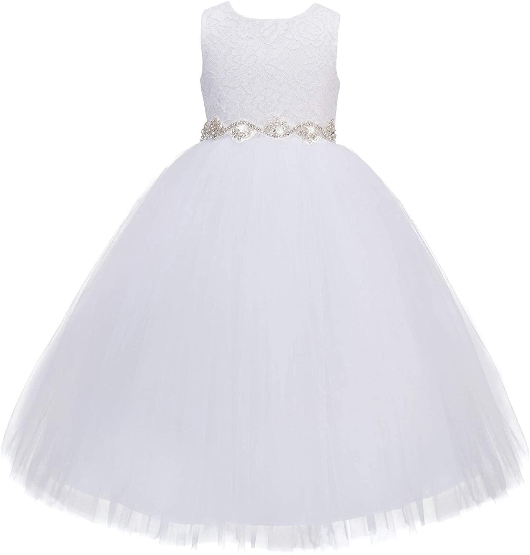 ekidsbridal Floral Lace Heart Cutout Baby Flower Girl Dress Christening Gown 172R